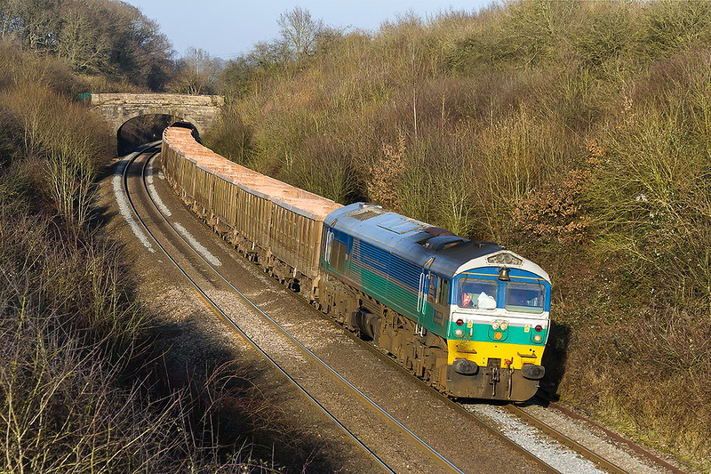 13th Feb 2017:  Roundiing the corner at Clink Road in Frome is pioneer  loco 59001 on the point of 7C77 Jumbo empties fron Acton to Merehead
