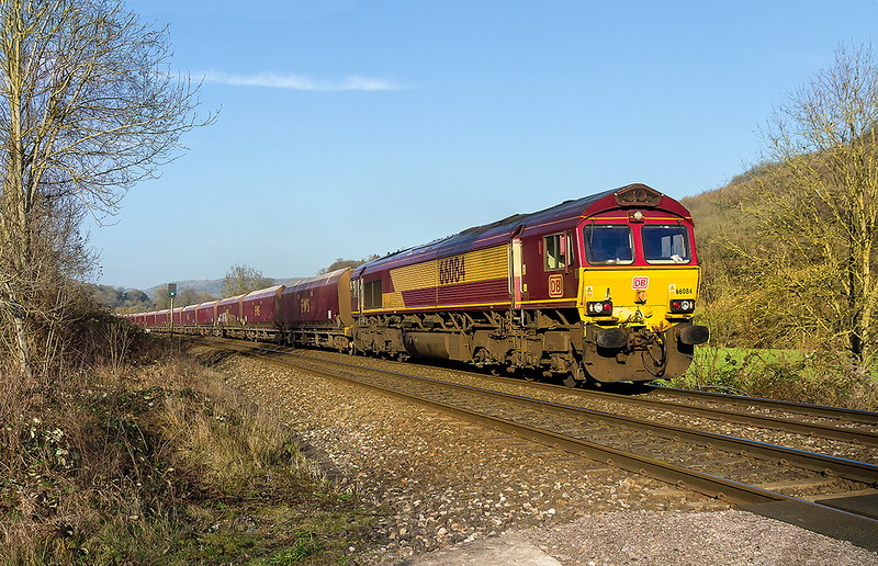14th Feb 2017:  Pictured from Fishers Crossing at Limpley Stoke is 66084 powering 6A83 from Avonmouth to West Drayton.  It is good to see that the old EWS coal hoppers are still bing used for something