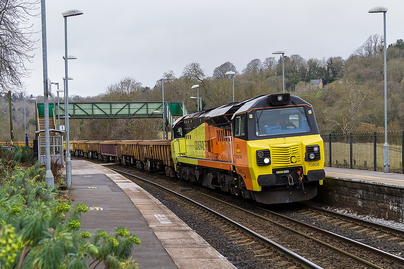 19th Feb 2017:  Thumping through Freshford  with a  long take of JNAs is 70808 working 6C22 from Parson Street to Westbury