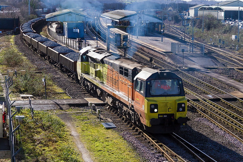 4th Feb 2017:  Getting under way from the Down Loop at Westbury is 70807 working 6C24 to Ladbrooke Grove.   Lots of smoke but it was a loing train of mainly MHAs and  with 10 Autoballalsters at the end