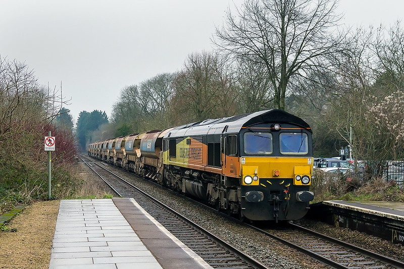 15th Feb 2017:  With 2 sets of Auto ballasters in tow 66849 'Wylam Dilly' powers 6C26 from Fishguard to Westbury through Bradford on Avon.  Riding shotgun on the leg is 66850