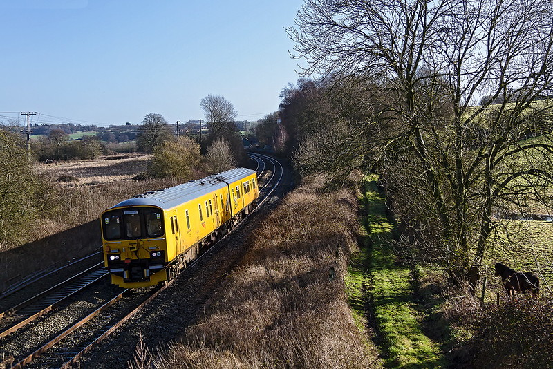 7th Feb 2017:  Network Rail test DMU 950001 hurries west through Lavington as it  works from  Oxford Down Carriage Siding to Derby via Westbury