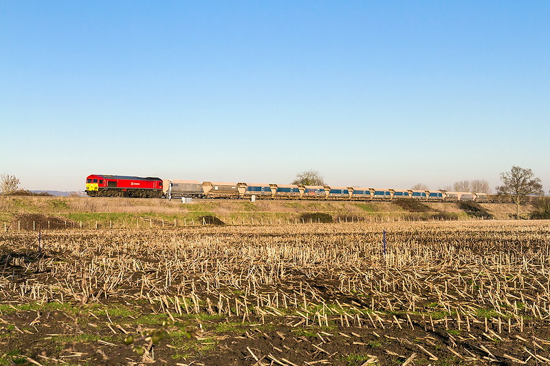 20th Jan 2017:  DBC Pinkie 59205 passing Coulston in Wiltshire as it works 7C77 from Acton London to Whatley in Somerset