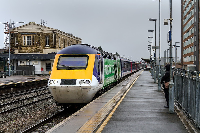 16th Jan 2017:  Standing in platform 4 at Swindon and still in Bristol 2015 livery is 43126  leading on 1B28 the 11.48 to Swansea from Padddington.  One day I will get a shot of this power car with full bling on the nose.  One Day !!!
