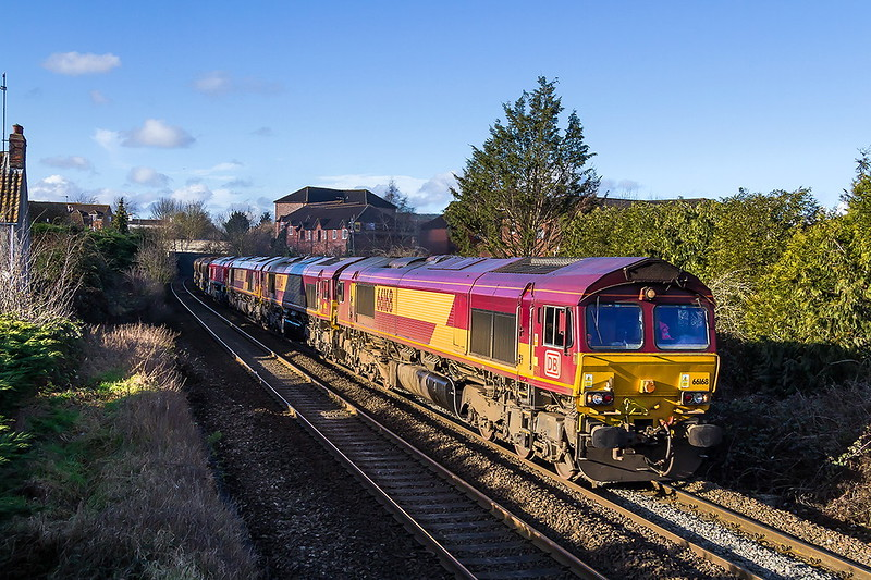 28th Jan 2017:  If I had botherd to read the postings and used my brains I would have known that 6O12 from Newport ADJ  was  orignally 0O12 from Margam to Westbury and was likely to have several locos  on the point and should therefore have chosen a location that was not mainly shaddows .  66168 was actually doing the work and the others are 66004,66143 & 66150 with 5 Autoballasters just visible at the rear as the ensemble leaves Trowbridge