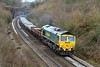 15th Jan 2017:  Captured at Clink Road in Frome 66555 is working 6Y50 to Bath Spa via Taunton from Westbury.  The sleepers are to be used in track relaying in the Trowbridge area.