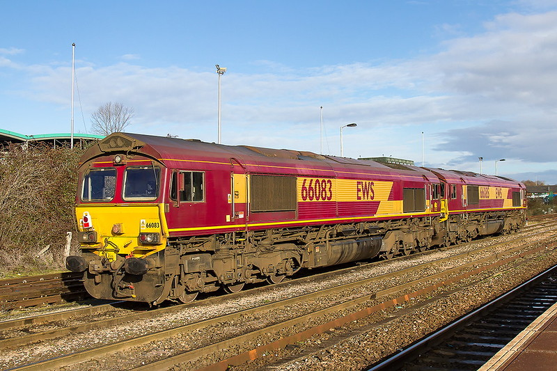 14th Jan 2017:  Still in full EWS livery 66083 & 66085 are parked with engines turned off at Westbury