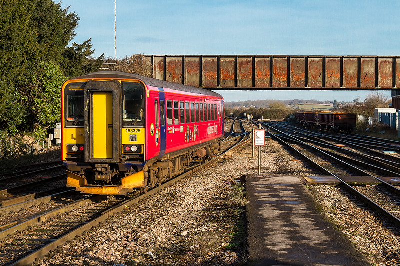 3rd Dec 2017:  153325 'Citizen Rail' leaving Westbury witj 2M08 the 11.47 Westbury to Swindon Shuttle