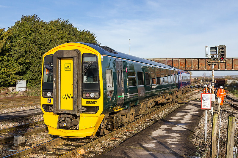 3rd Jan 2017;  2M09 the 12.20 to Swindon departs from Westbury.  Normally Sprinters are  numbered 158 and consist of 3 coaches but the middle car is missing on this one and unusually they are not in the same livery  although both are numbered 158957
