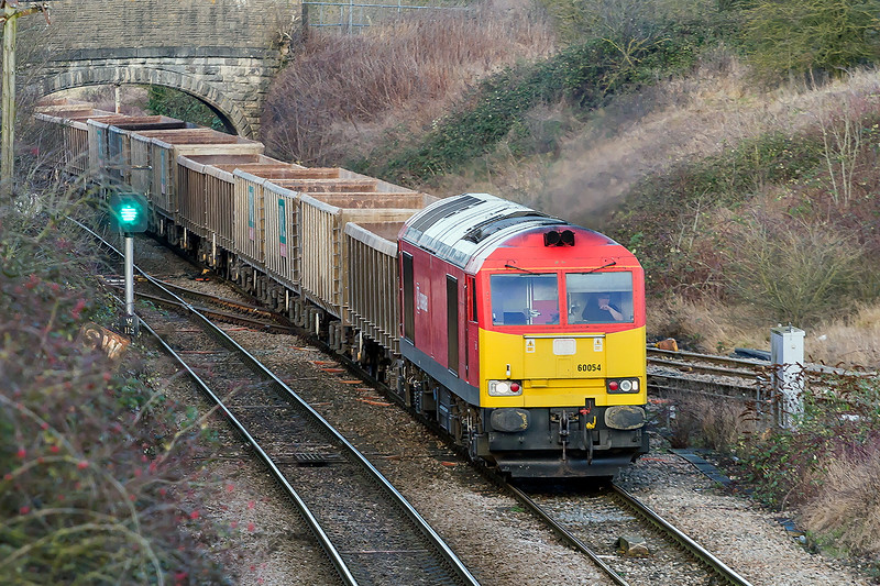 4th Jan 2017:  My fist picture of the current shunter at Westbury out on the main line.  60054 on Hawkeridge Junction as it works 6B48 from Appleford to Whatley