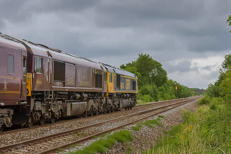11th Jul 2017:  The Belmond 'Royal Scotsman' has the road into Westbury station at Fairwood Junction as it heads to Bath.  Powered by 66744 & 66746 (in the proper livery) 1Z79 had started from Gloucester and had gone to Newton Abbot and reversed.