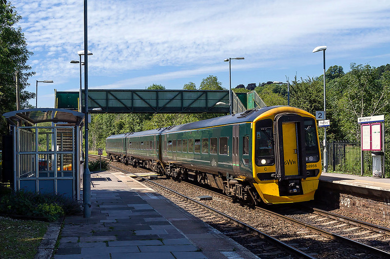 5th Jul 2017:  Running through Freshford is 158956 which is forming 1F19 the 13.30 from Cardiff  to Portsmouth Harbour