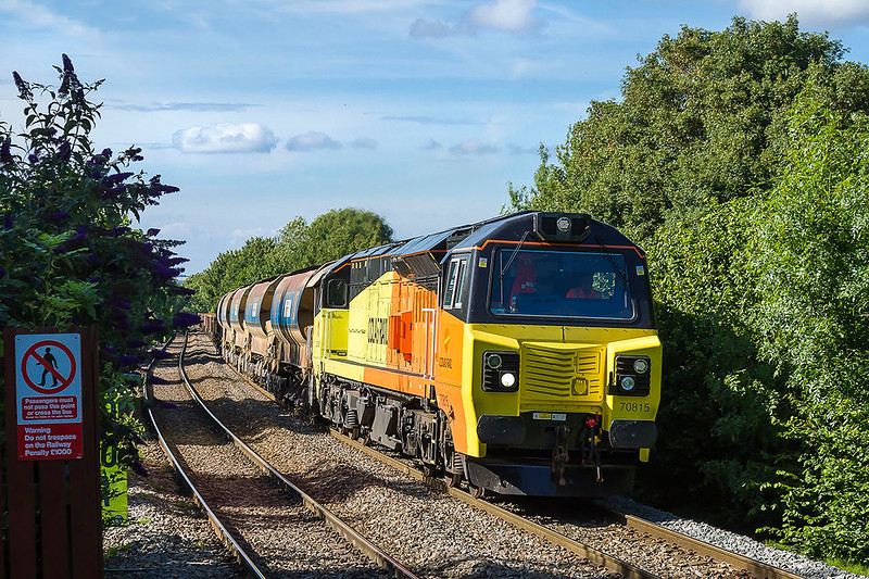3rd Jul 2017:    On the climb through Dilton Marsh is 70815 on the point of 6O31 the evening departmental from Westbury to Eastleigh