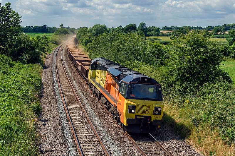 12th Jul 2017:  Going the long way round from Westbury to Wootton Bassett is 70809.  6C24 is having to go via the  Berks & Hants line to get to the work area which I believe is at the site of Dauntsey station.