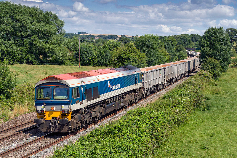 12th JUl 2017:  Hanson 58102 is heading 7C77 from Acton to Merehead through Great Cheverell