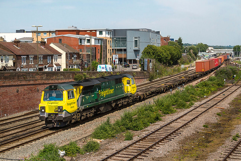 6th Jul 2017;  Getting away from Easteligh after  crewe change is 70015 on the front of 4O14 from Garston to Southampton Maritime