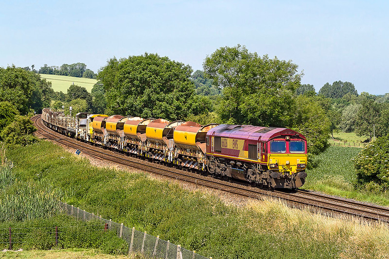 19th Jun 2017:  The morning departmental from Wstbury to Eastleigh runs under the code of 6O41.  66126 is doing the job today and is captured at Hanging Langford in the Wylye Valley