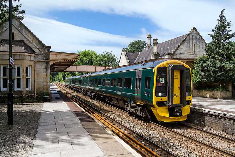 16th Jun 2017: A Brunel station and a Brunel colour train ( The GWR abandoned this colour in 1906, I can see why!)  158956 is leaving Bradford on Avon as it works 1O98 the 10.48 from Great Malvern to Brighton service