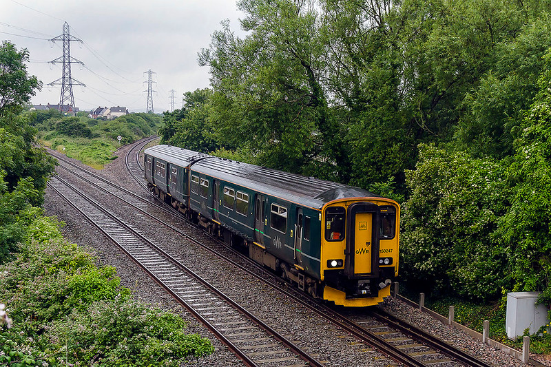 28th Jun 2017: n Iin grotty weather 150247 is joining the main line at Worle Junction as it works 2D12 the 12.05 Weston Super Mare to Bristol Parkway