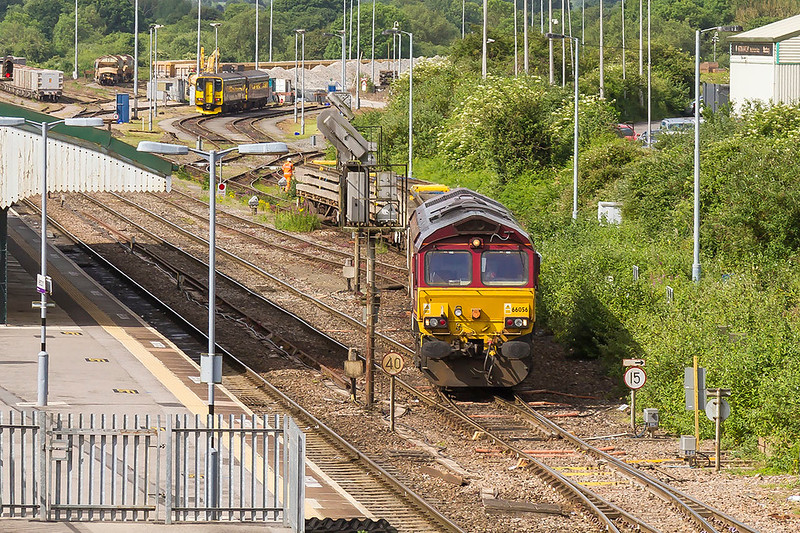 11th Jun 2017:  66056 shunting old track pannels into the Recycling siding ar Westbury
