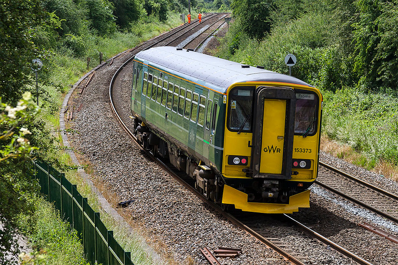 6th Jun 2017:  The latest 153 to repainted into sludge green, 153373, is captured as it climbs the grade between Baradford Junction and Trowbridge.  2M09 is the 12.47 from Swindon to Frome service.