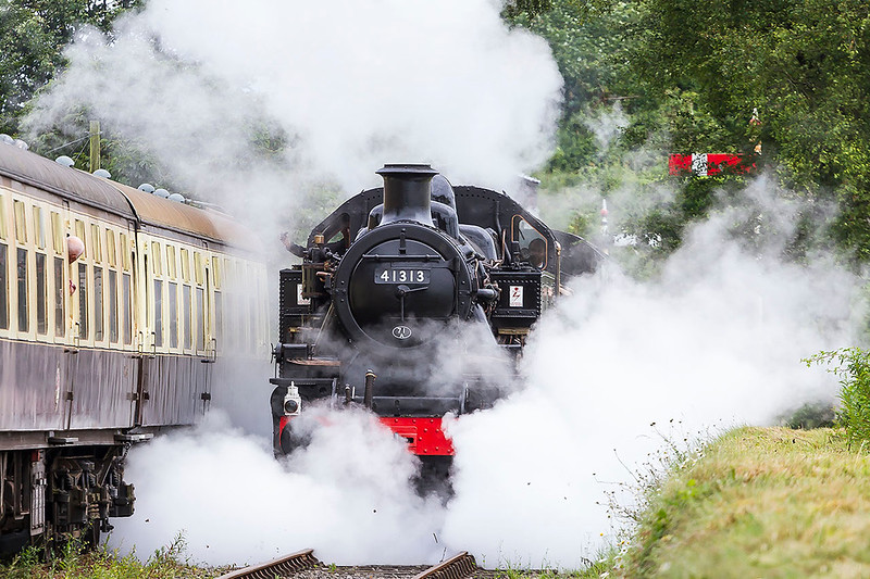 24th JUn 2017:  With the drain cocks opern 41313 kicks up some dust as it eases foward on it's first day in traffic after restoration