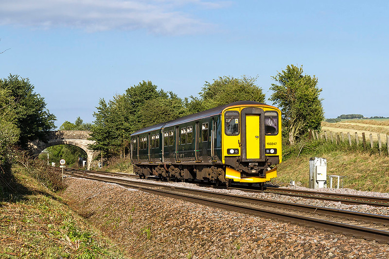 16th Jun 2017:  150247 leaves Westbury as it works 2O97 the 16.40 from Gloucester to Weymouth through Fairwood