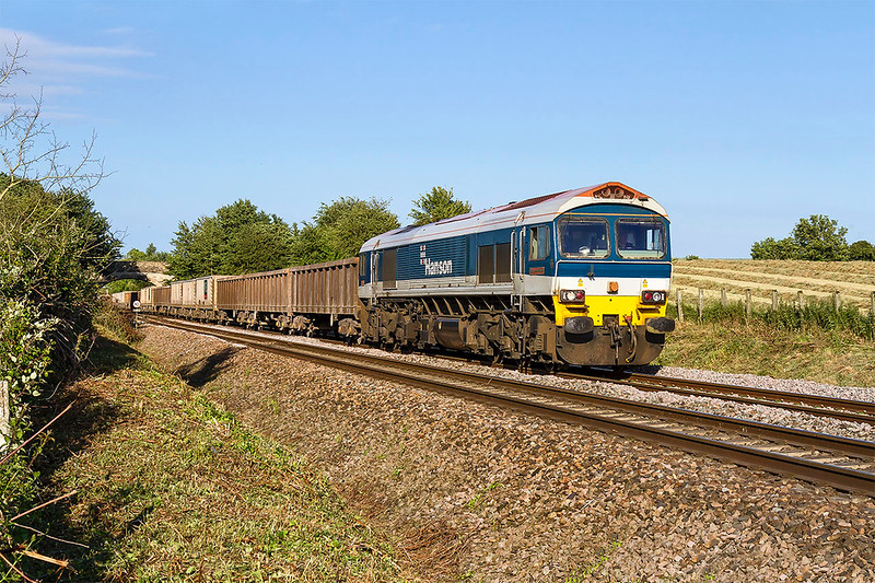 16th Jun 2017:  It is 7pm and the 2nd agregate empties to pass me in 30 minutes is 59101 'Village of Whatley' working 6C48 from Appleford to Whatley heads towards Fairwood Junction..  About 15 minutes earlier  a double headed  jumbo empties had headed west but used the Avoider.  There was a further wtrain due from Wootton Bassett to work this way but was running late so I packed up and went home.  Also a light engine move of 66004 & 59102  passed eastbount.  Westbury can be busy place.