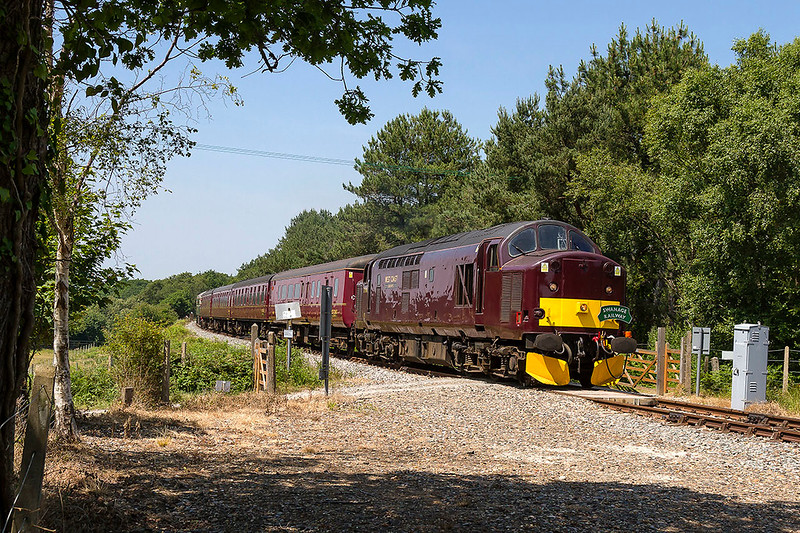 20th JUn 2017:  37518 is crossing the line at Creech Bottom as it workd 2Z21 the 13.19 Wareham to Swanage service