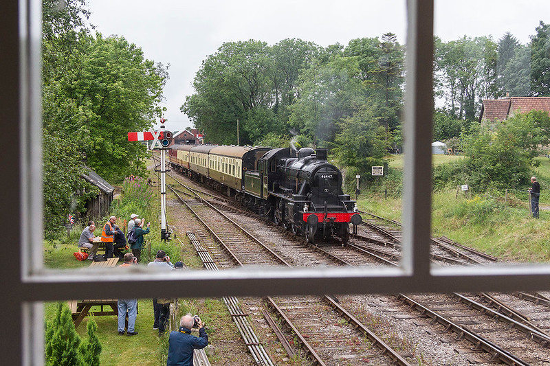 24th Jun  2017:  The signalman's view of 46447  as it runs into Cranmore. The reflections in the glass wre not obvious when I took the picture and are now virtually impossible to remove.