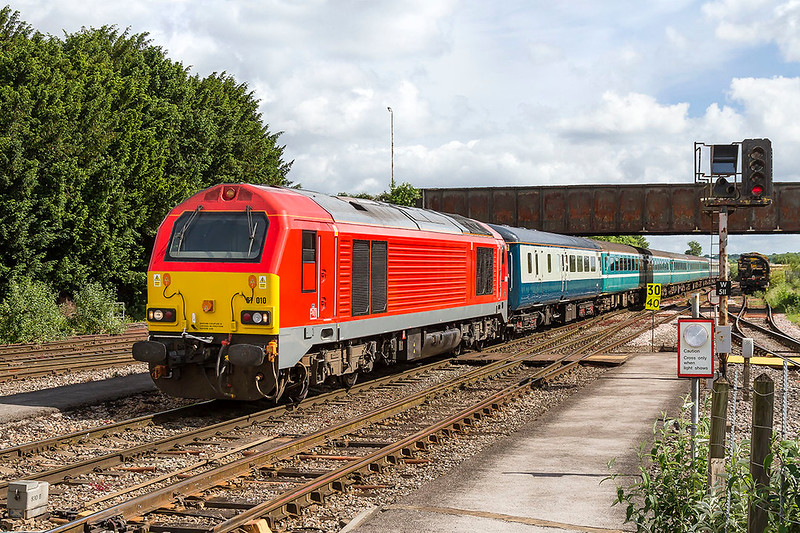 3rd Jun 2017:  Substuting for the usual HST on the summer Saturdays only  'Seaside Special' from Bristol to Weymouth is 67010.  1O72 started from Bristol Temple Meads at 09.06 and the return working get here at 20.28.   The loco looks to habe been very recently repainted but perhaps they have run out of DB stickers !
