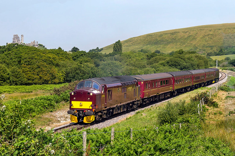 20th Jun 2017:  My day's first shot of 37518 as it  heads south accross Corfe Common as it works 2Z19 the 11.19 from Wareham to Swanage