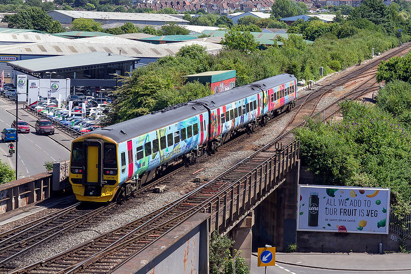 13th Jun 2017:  the 12.30 from Cardiff to Portsmouth Harbour (1F17) is again in the hands of 158798 in it's Springboard livery.  This time pictured as it passes North Somerset Junction in Bristol