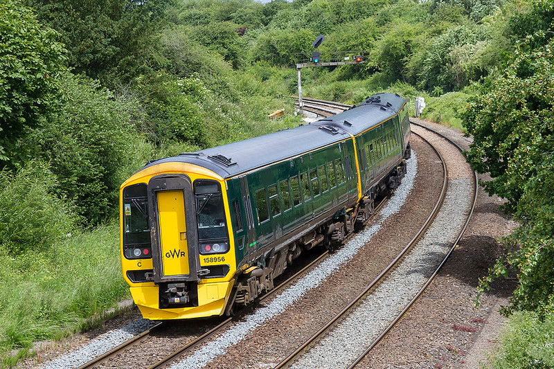 6th May 2017:  Not my favourite colour but certainly becoming more common is the GWR green livery.  158956 is nearing Bradford Junction as it works 1F14 the 10.23 Portsmouth Harbout to Cardiff
