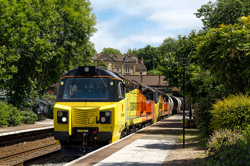 16th Jun 2017:    The expected power on 6C36 from the Westbury Cement Works  to Aberthaw was 70817 so to make a change a shot at Bradford on Avon was the plan.  The picture I think works if it were not for the fact that 70814 had been added on the front. In fact the second loco was 70805 so it was  a double change.  A very unusual thing to happen.