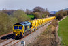 26th Mar 2017:  66519 is on the front of 6Y39 bringing the HOBC from Parson Street in Bristol to Fairwater Yard in Taunton.  66525 is out of sight at the back of the train.  The location id Fairwood on the outskirts of Westbury
