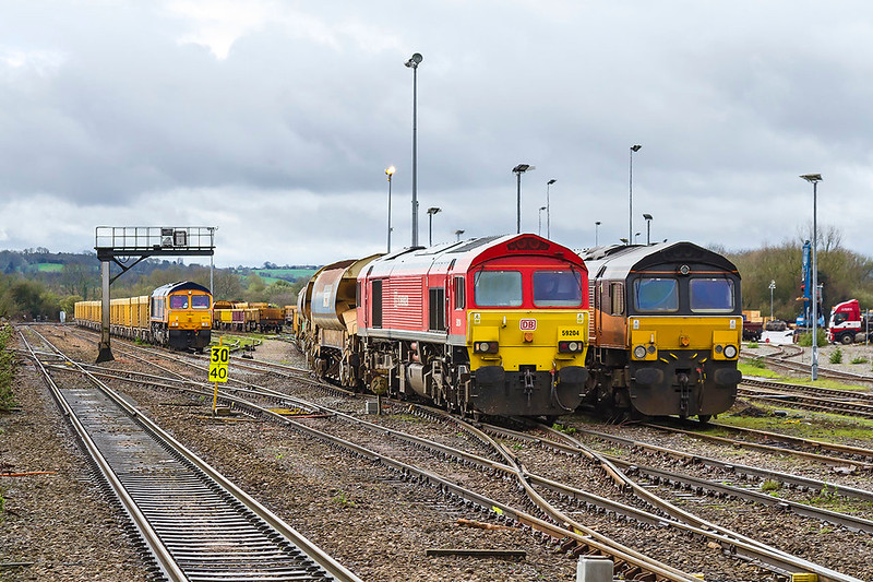 22nd Mar 2017:  An almost familiar scene at Westbury  sees 66778 waiting to take 6M40 to Stud Farm  for a ballast refill , 66847 is parked in the spur and 70804 is out of sight on the raght while 66005 is shunting the Down Yard out of sight on the left.  The only unusual thing is that 59204 is acting as the Up Yard shunter.