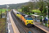 3rd Mar 2017:  With 70802 in charge 6C36  moving PCA empties from Westbury Cement Works to Aberthaw Ceement Works in South Wales rushes through the recently cleared Freshford Station