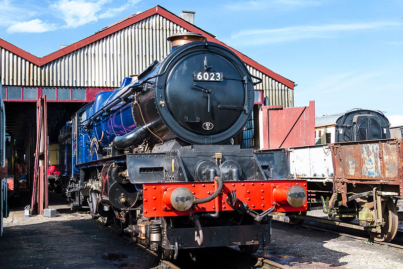 25th Mar 2017:  Looking very handsom and with the squat chimney not really showing 6023 King Edward II stands outside the shed at Didcot.  Will it ever get onto the main line?