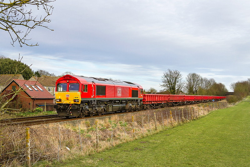 9th Mar 2017:  66149 is again working  the Westbury to Eastleigh   Departmental Tripper. 6O41 is pictured passing though Wylye on the afternoon return leg with a matching rake of Lobsters .  Unfortunately the sun that shon most of the day departed as I arrived at this spot.  It came out as I drove away.  Isn't life with a camera fun!