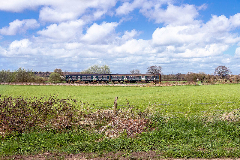 31st Mar 2017:  Sludge green goes merge into the back ground very wel !!l.  150234 runs through Fairwood as it works 2V90 the 11.10 Weymouth to Bristol Temple Meads