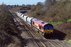 21st Mar 2017:  Rounding the curve onto the main line at Clink Road Junction in Frome  is 66145 workiing 6M20 from Whatley Quarry to St Pancras Churchyard Sidings