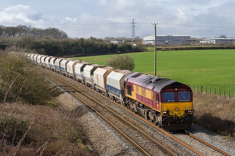 8th Mar 2017:  Accelerating away fron Clink Road Junction is 66005 working to Hayes & Harlington Tarmac Sidings from Whatley Quarry