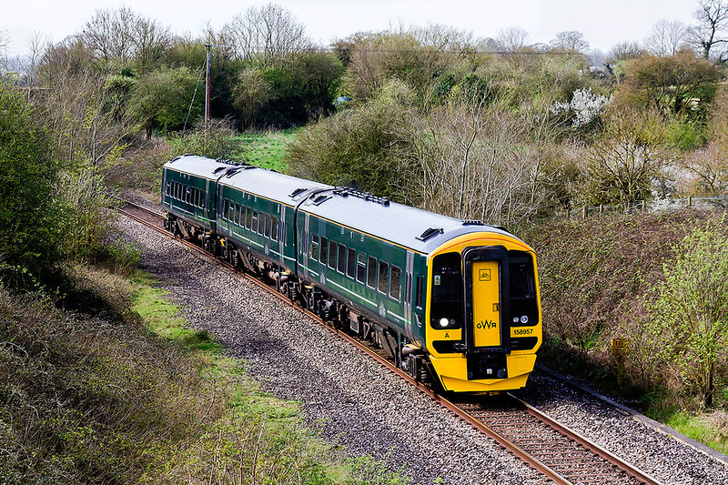 30th Mar 2017:  2M10 is the 12.20 Westbury to Swindon shuttle which today is formed of recently repainted Sprinter 158957.  Pictured at it runs through Broughton Gifford