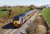 26th Mar 2017:  Running 6 minutes earlly at Fairwood is 1V48 the diverted  08.10 from Leeds to Plymouth.  43325 is leading with 43384 at the rear