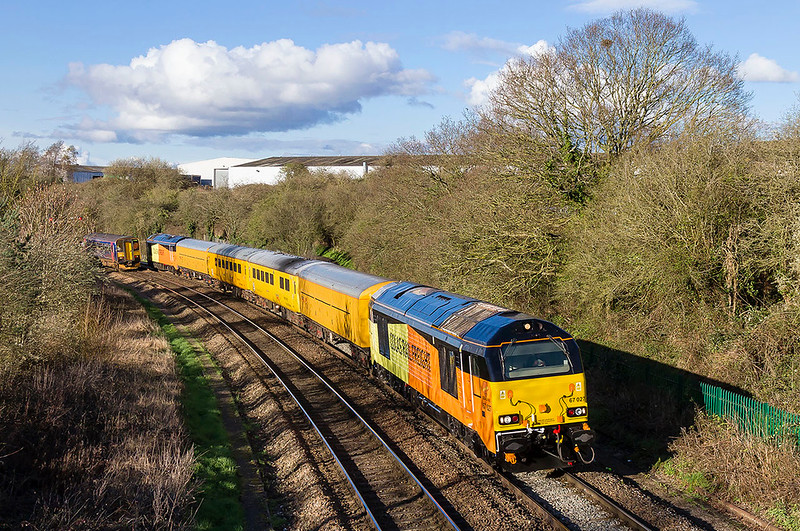 22nd Mar 2017: At Ladydown in Trowbridge newly taken into the Colas fleet 67027 and 67026 are pictured as they work 1Z79 from Tyzeley to Bristol.  This was scheduled to work to Weymouth  but the derailment at East Somerset Junction scuppered this bit of the tour so it ent straight back to Bristol