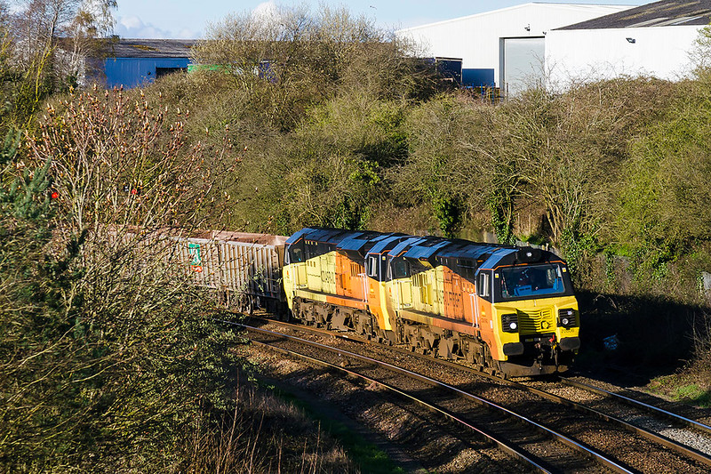 22nd Mar 2017:  With the shaddows encroachiing this tele shot was tried.  6C28 from Exeter to Westbury was diverted was diverted via Bristol because of the derailment and a loco failure produced a double header.  70806 has recued 70807.  The location is Ladydown in Trowbridge