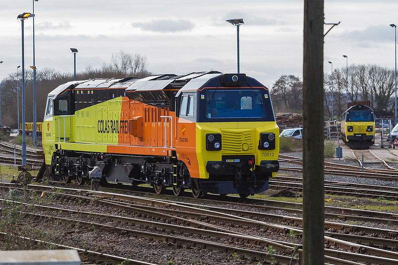 7th Mar 2017:  Brand new Colas70812 was delivered to Westbury today and has yet to work any traffic.  The siding on the right contains 3 older oneswith 70810 on the front