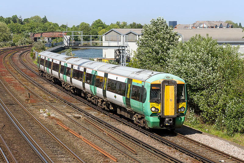 10th May 2017:  With the River Itchem just visible  377148 is running on time as it forms 1J70 the 12.36 from Victoria to Southampton Central