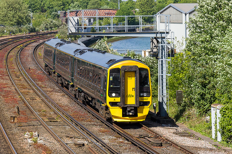 10th May 2017:  158957is between St Denys and Mount Pleasant as it works 1F24 the 14.23 Portsmouth Harbour to Cardiff Central.  When you look at the colour of the stock it is not difficult to realise why the real Great Western Railway  decided to abaandon the colour in 1906 !!